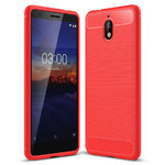 Flexi Carbon Fibre Tough Case for Nokia 3.1 - Brushed Red